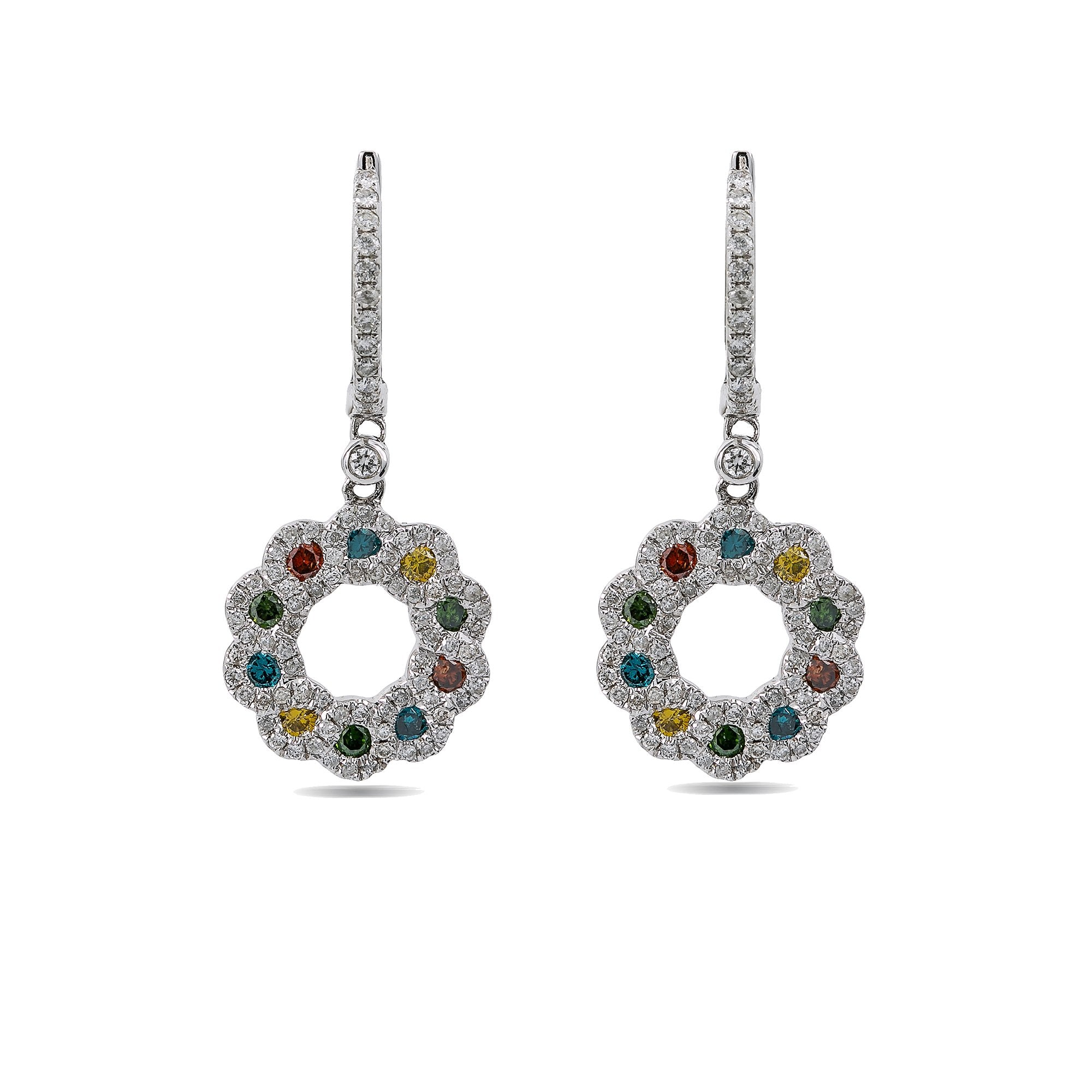 14K White Gold Ladies Drop Earrings colored Diamonds With 1.48 CT Diamonds
