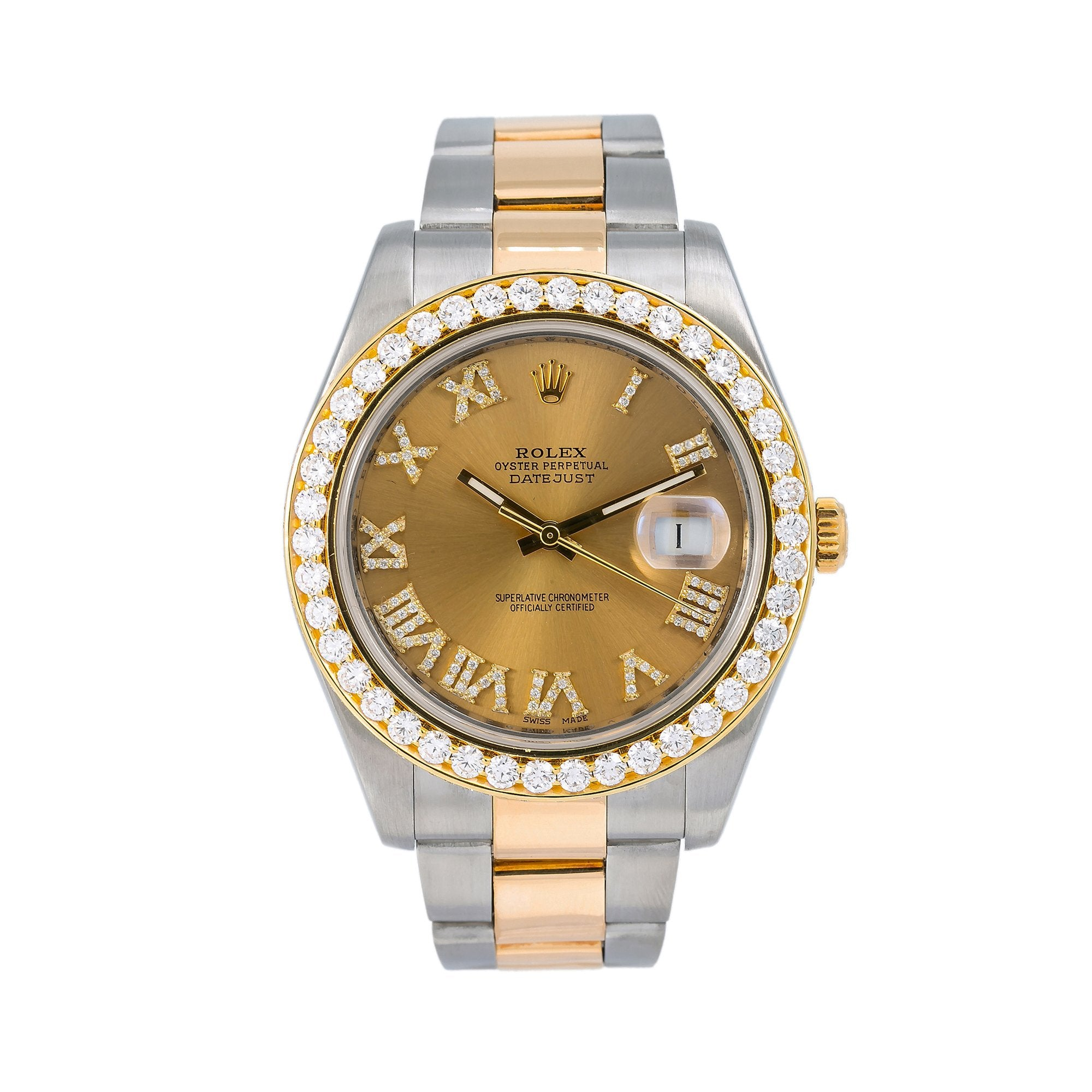 Rolex Datejust II Diamond Watch, 116333 41mm, Champagne Diamond Dial Two Tone Oyster Bracelet