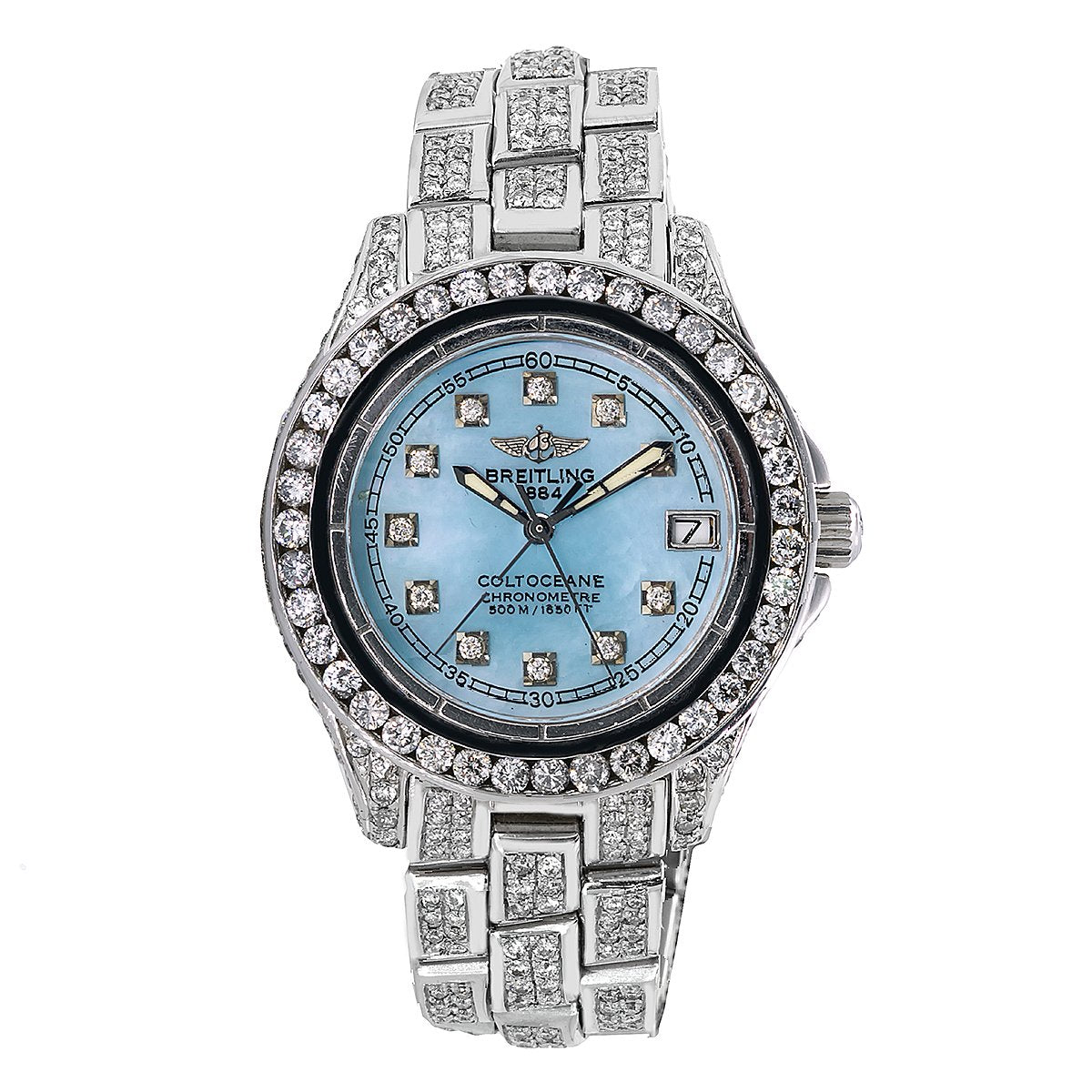 Breitling Colt Oceane A57350 33mm Blue Mother of Pearl with 8.0CT Diamonds Watch