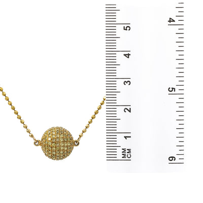 18K Yellow Gold Fireball Women's Necklace With 0.18 CT Diamonds