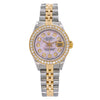 Two Tone Rolex Datejust 69173 26mm Pink Mother of Pearl Dial with 1.3CT Diamond Bezel