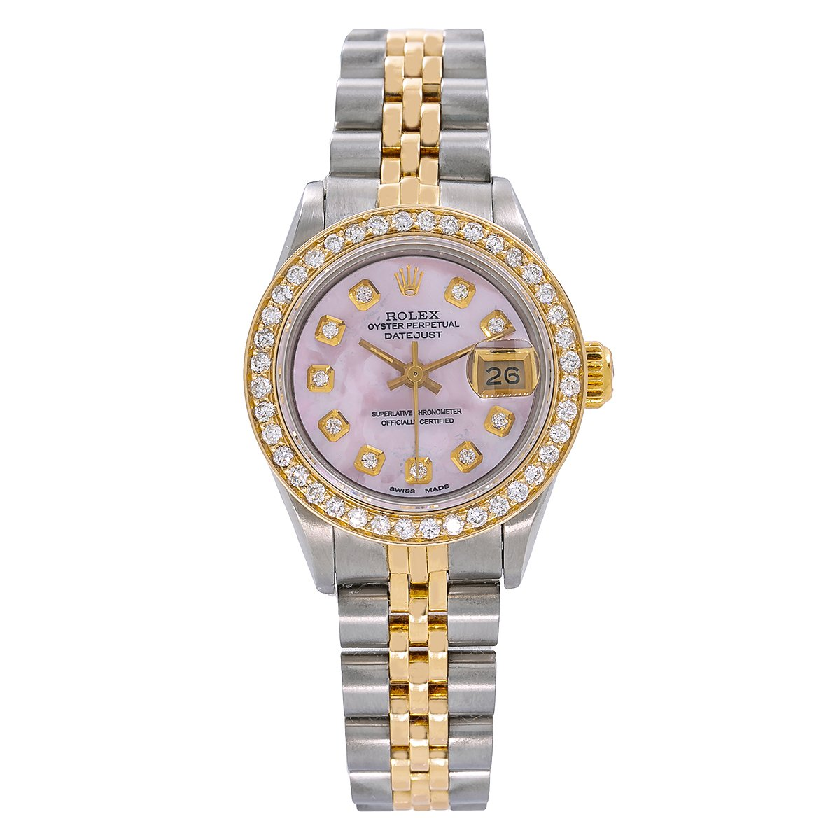 Rolex Datejust Two Tone Diamond Watch, 69173 26mm, Pink Mother of Pearl Dial with 1.3CT Diamond Bezel