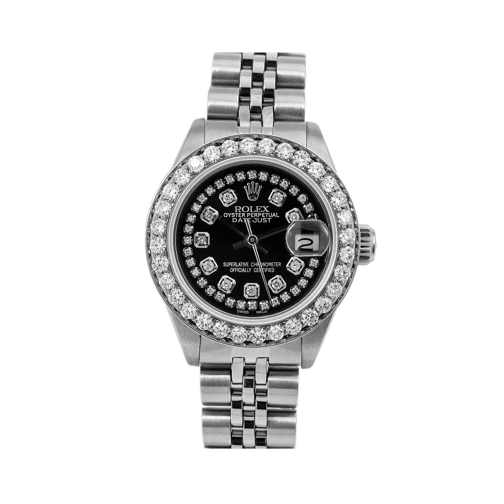 Rolex Lady-Datejust Diamond Watch, 6917 26mm, Black Diamond Dial With 2.25 CT Diamonds Jubilee Bracelet