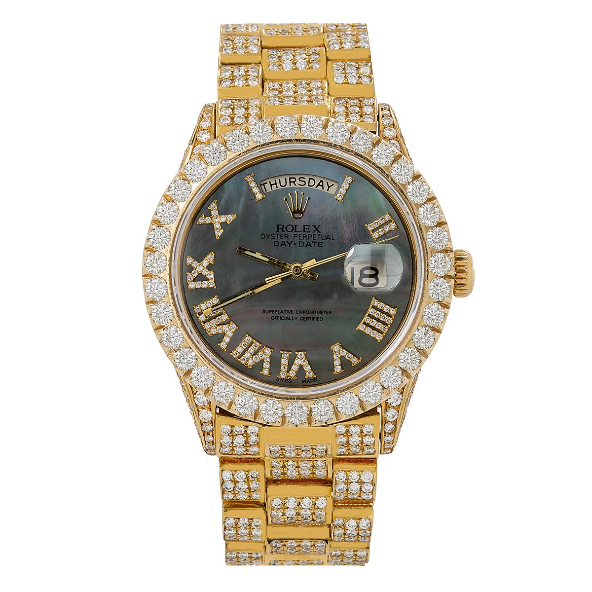 Rolex Day-Date Diamond Watch, 18038 36mm, Black Dial with 14.75 CT Diamonds