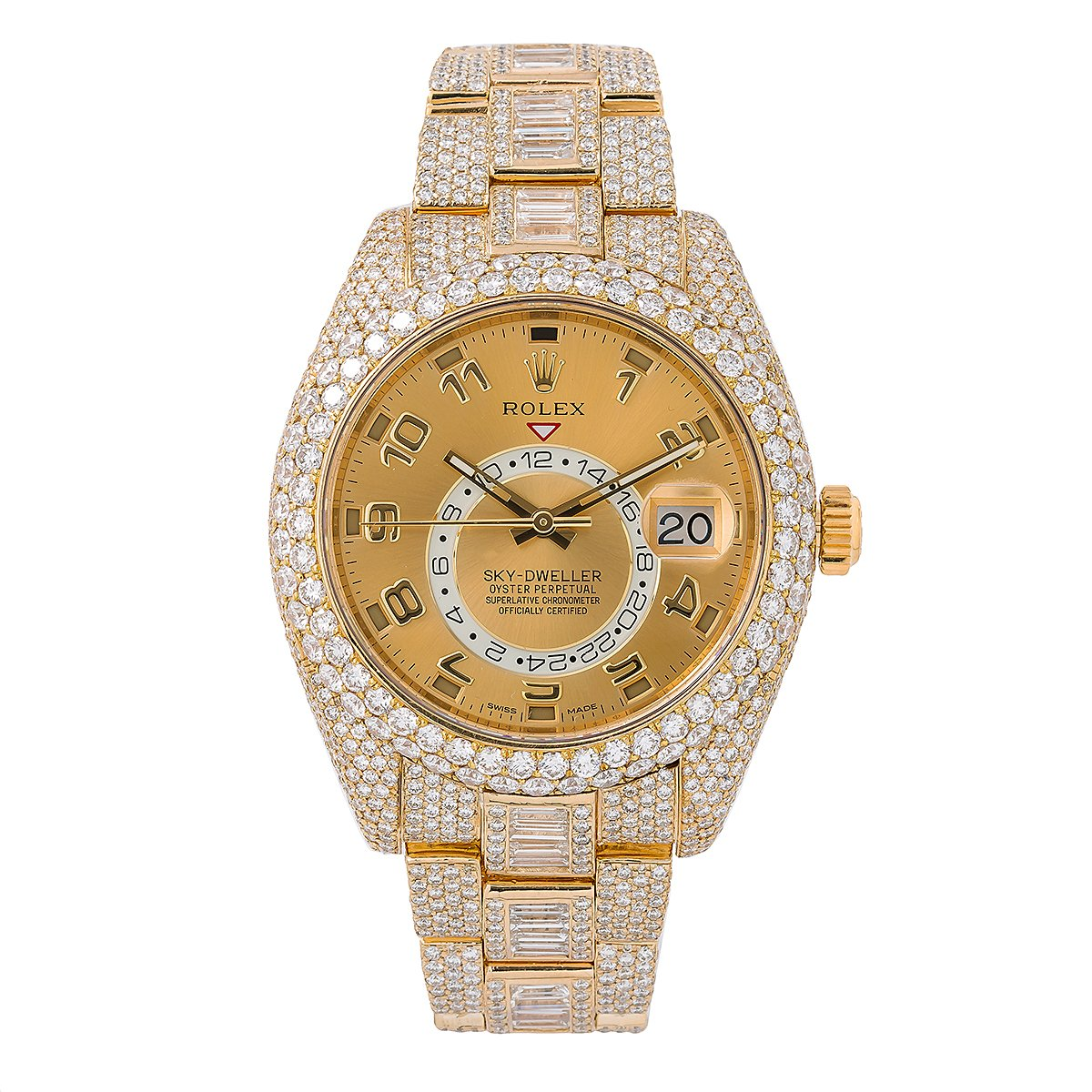 Rolex Sky-Dweller Diamond Watch, 326938 42mm, Champagne Dial With 31.00 CT Diamonds