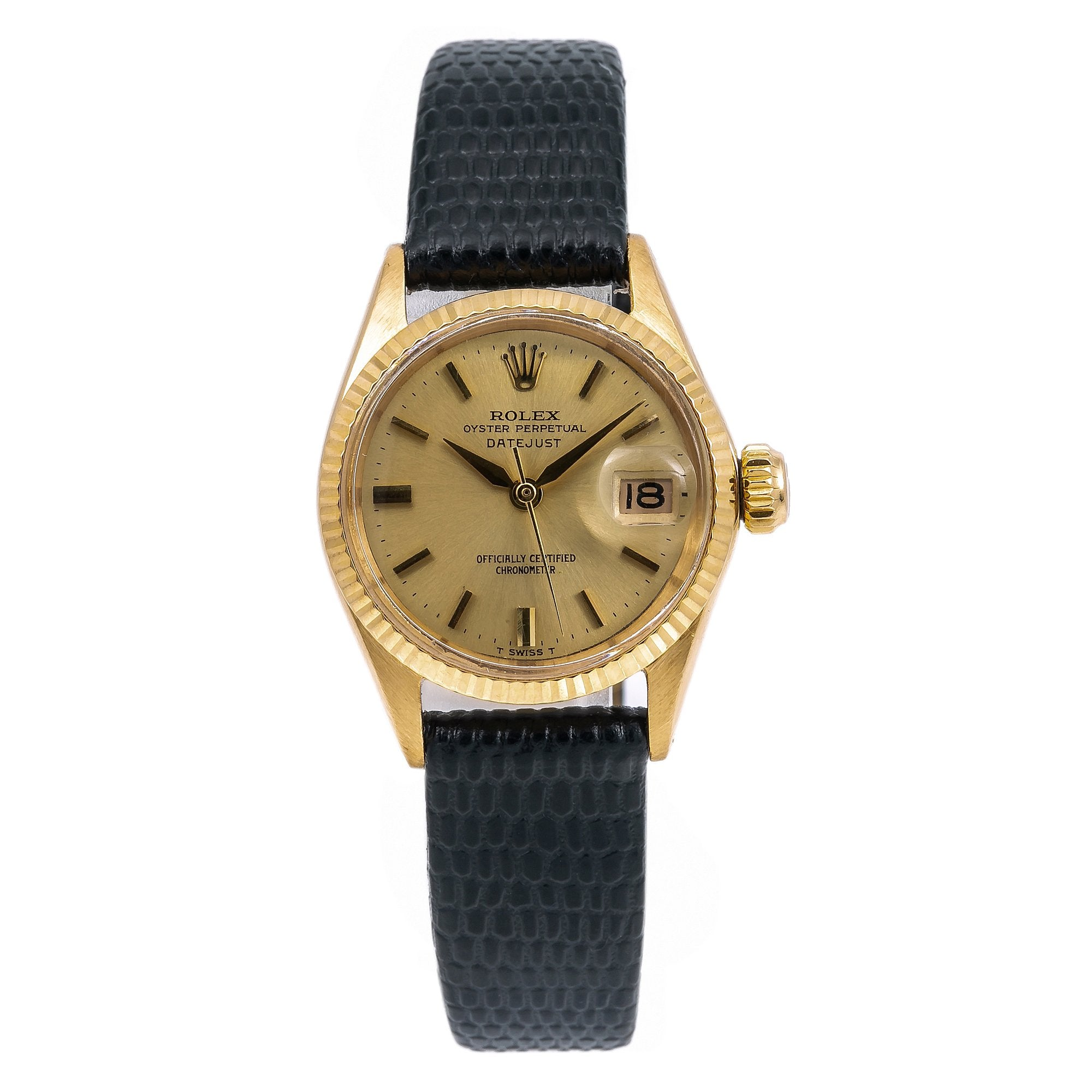Rolex Datejust 6517 26MM Champagne Dial With Leather Bracelet