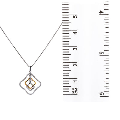18K Rose & White Gold Floating Shapes Women's Pendant with 0.16CT Diamonds
