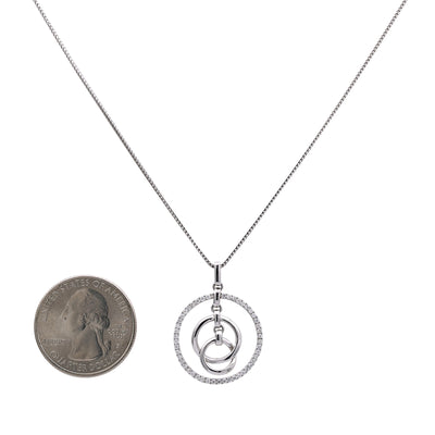 18K White Gold Floating Circle Chain Women's Pendant with 0.34CT Diamonds