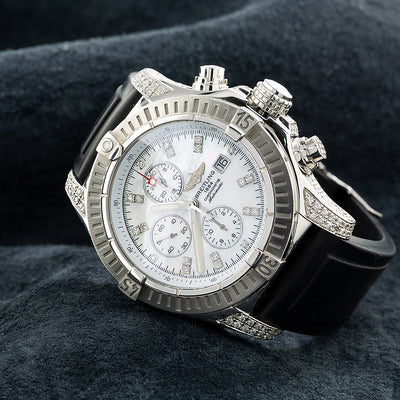 Breitling Chronomat Evolution A11370 42MM White Diamond Dial With 4.00 CT Diamonds