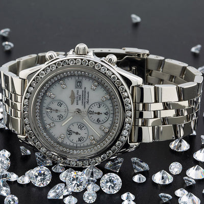 Breitling Crosswind Racing A13055 White Diamond Dial With 3.00 CT Diamonds