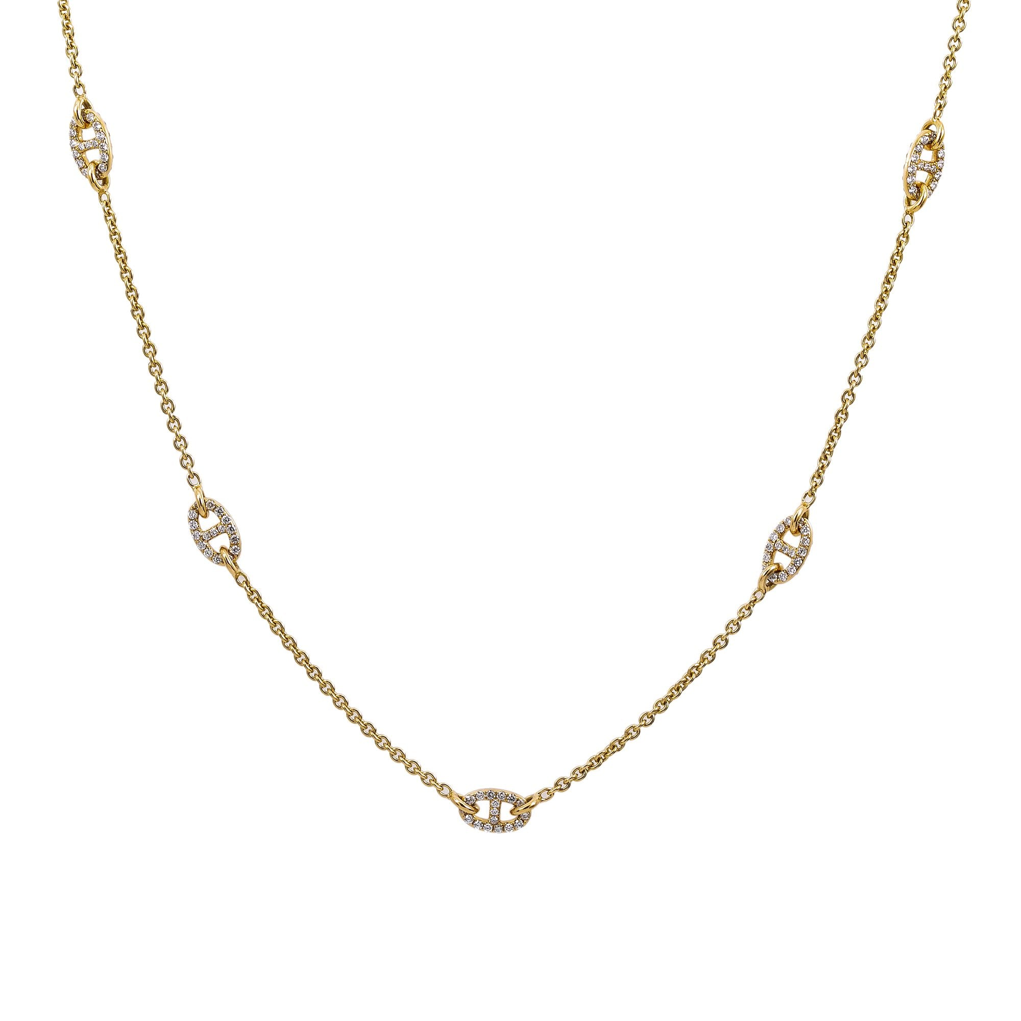 "18K Yellow Gold Women's Necklace, 18"" chain and diamonds"
