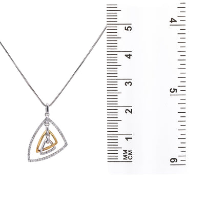 18K Rose & White Gold Minimal Floating Shapes Women's Pendant with 0.40CT Diamonds