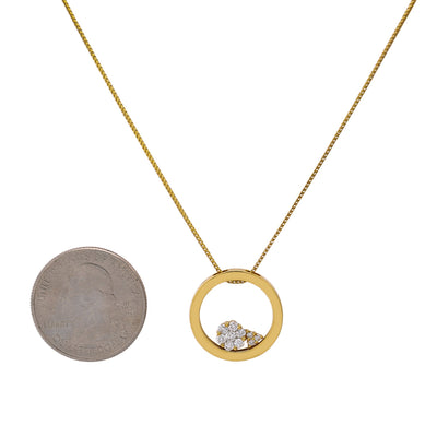 Floating Circle Women's Pendant with 0.35CT Diamonds available in White & Yellow Gold