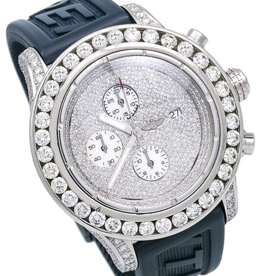 Breitling Super Avenger A13370 48MM White Diamond Dial With 20.50 CT Diamonds