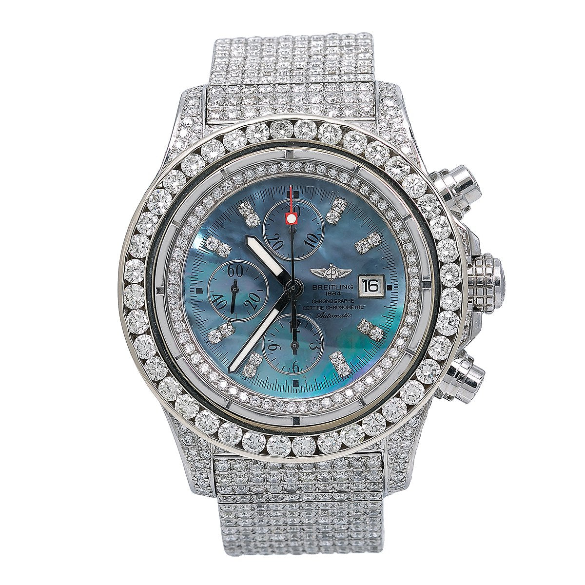 Breitling Super Avenger A13370 48MM Blue Diamond Dial With 24.85 CT Diamonds