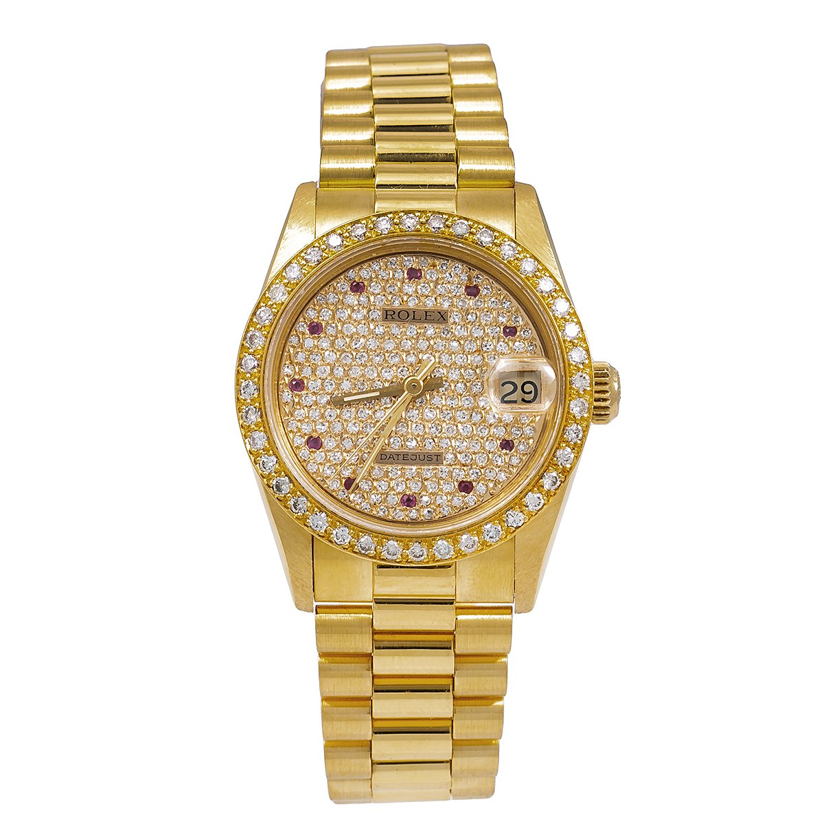 Rolex Datejust Diamond Watch, President 68278 31mm, Champagne Diamond Dial With Yellow Gold Bracelet