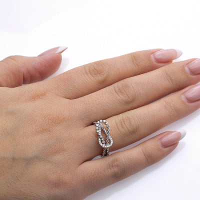 Ladies 14k White Gold With 0.71CT Right Hand Ring