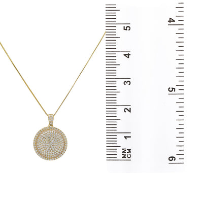 Men's 14K Yellow Gold Circle Pendant with 3.28 CT Diamonds