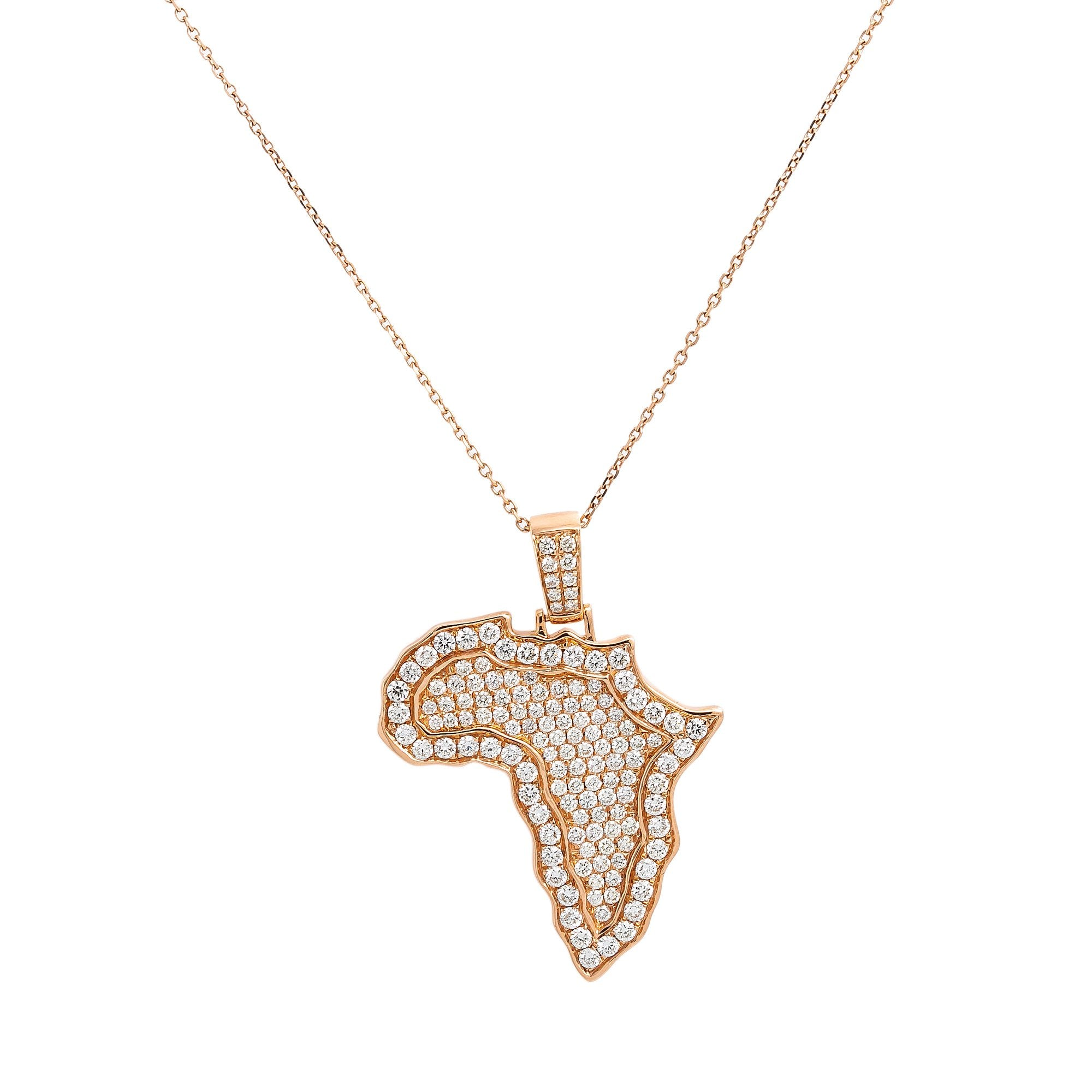 Unisex 14K Rose Gold Africa Pendant with 1.87 CT Diamonds