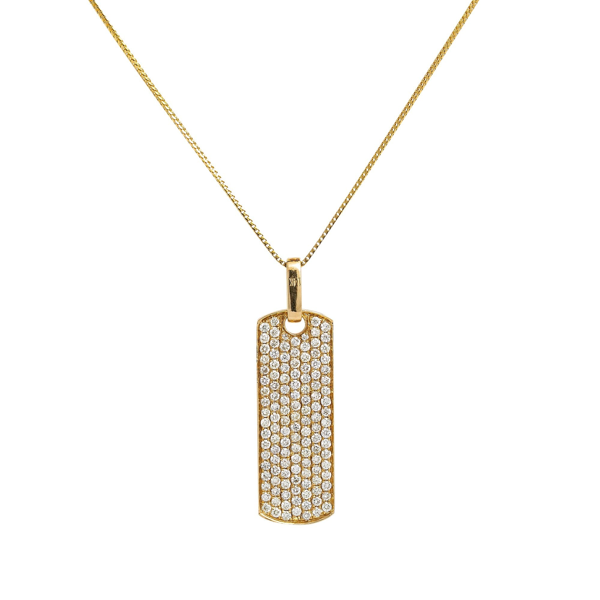 Unisex 14K Yellow Gold Rectangle Pendant with 1.70 CT Diamonds