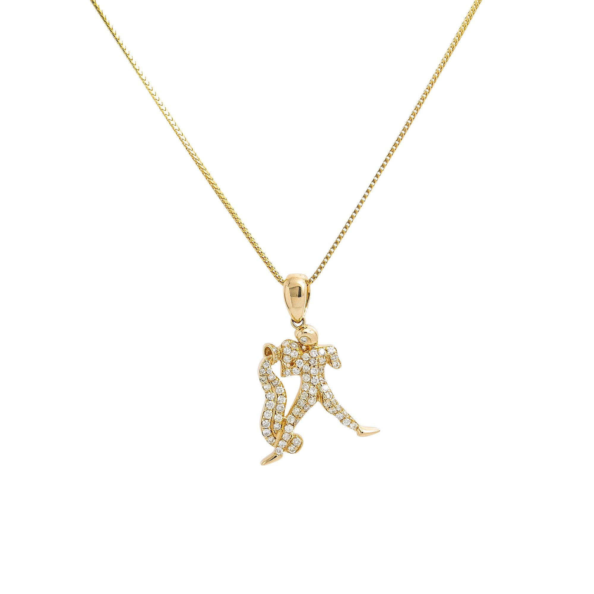 Unisex 14K Yellow Gold  Pendant with 0.48 CT Diamonds