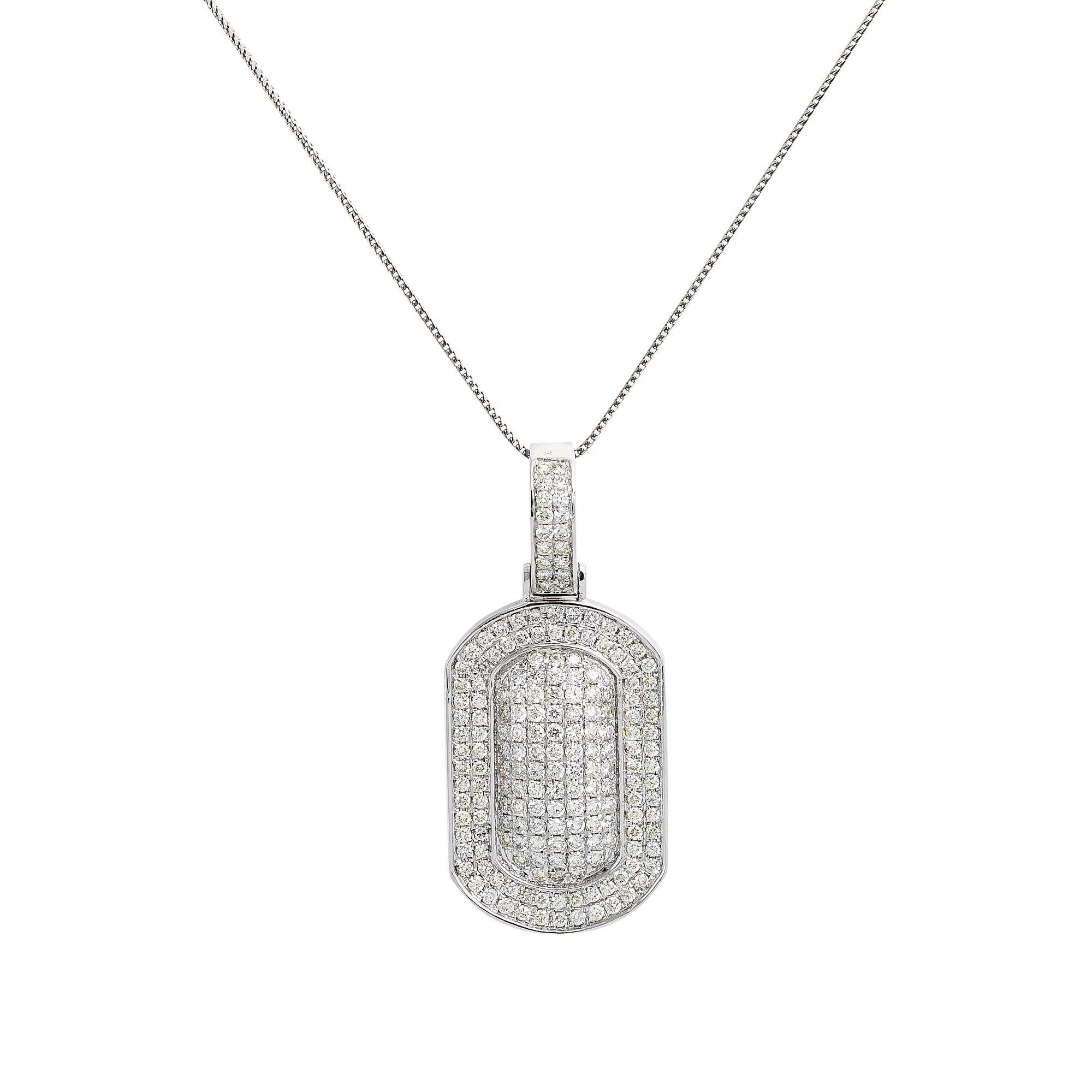 Unisex 14K White Gold Pendant with 2.40 CT Diamonds