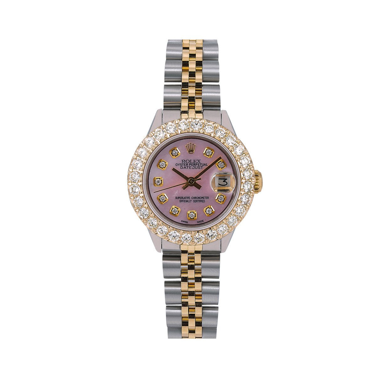 Rolex Lady-Datejust Diamond Watch, 6917 26mm, Pink Diamond Dial With Two Tone Bracelet