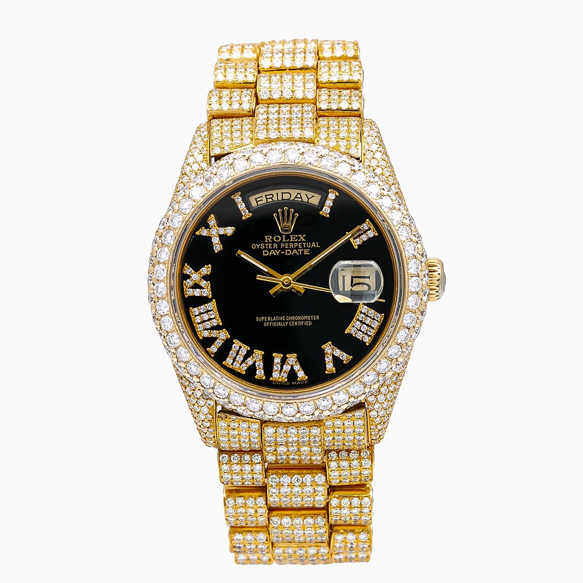 Rolex Day-Date Diamond Watch, 18038 36mm, Black Dial With 23.25 CT Diamonds