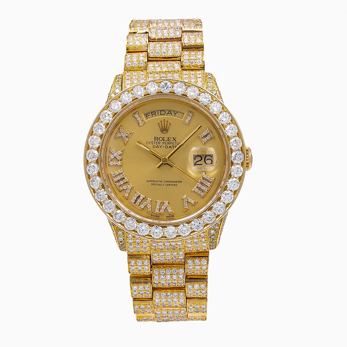 Rolex Day-Date Diamond Watch, 18038 36mm, Champagne Dial With 18.83 CT Diamonds
