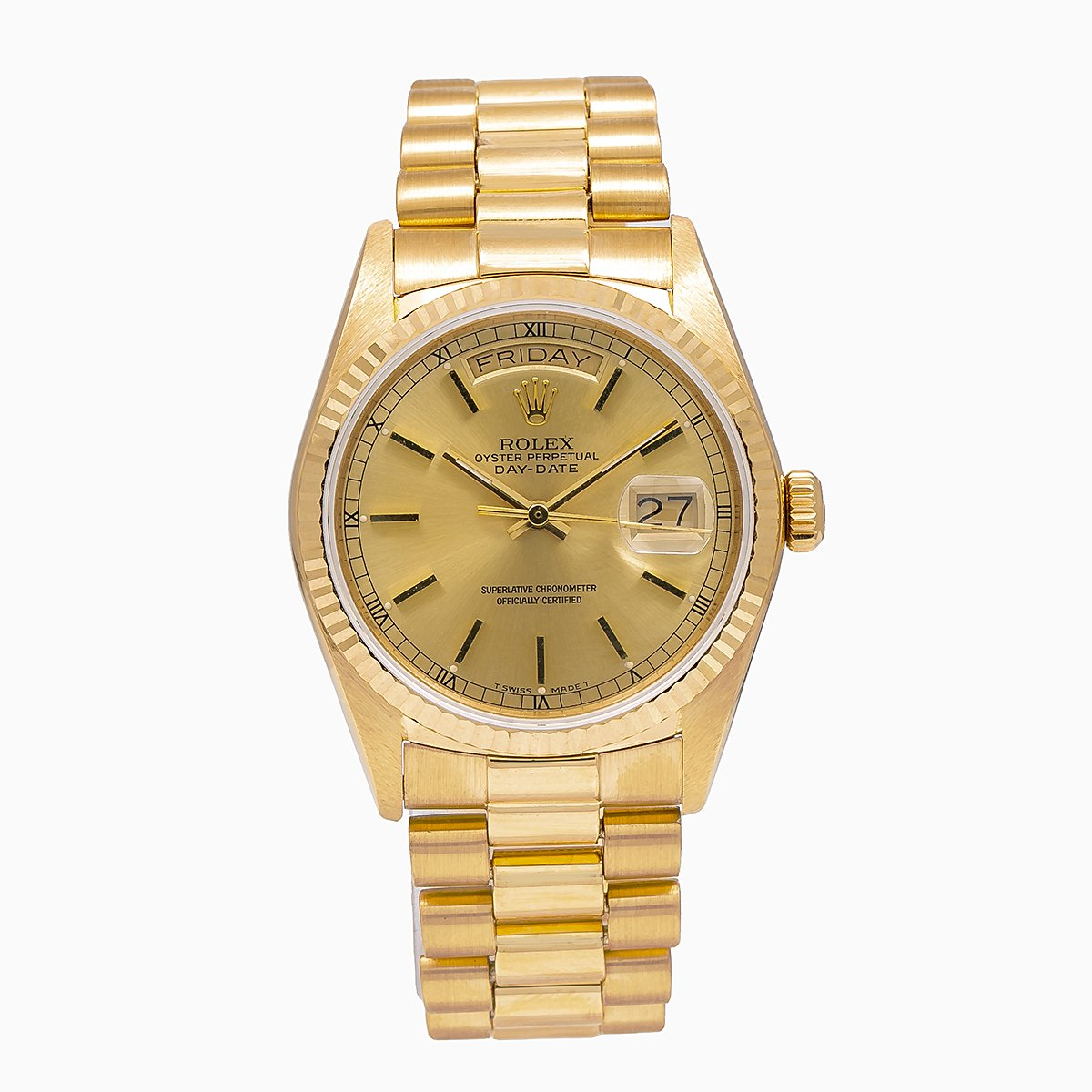 Rolex Day-Date 18038 36MM Champagne Dial With President Yellow Gold Bracelet