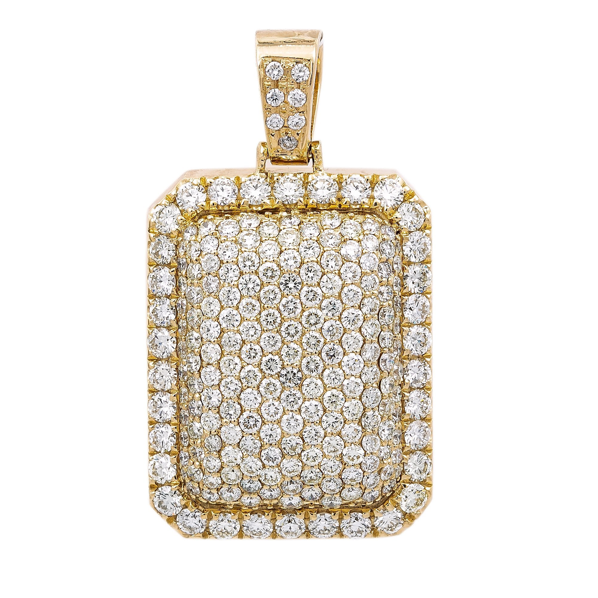 Unisex Rectangular 14K Yellow Gold Pendant with 6.90 CT Diamonds