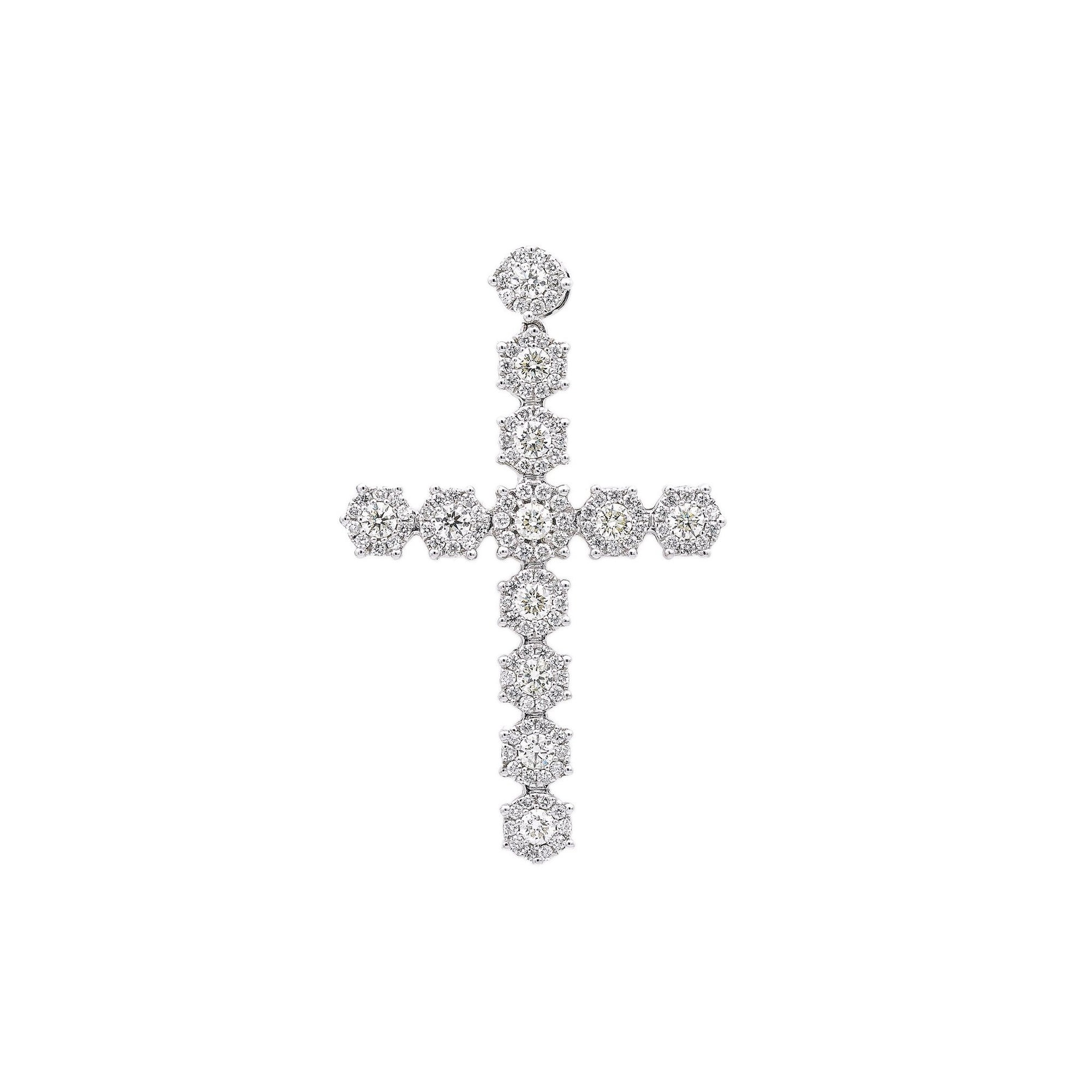 Unisex 14K White Gold Cross Pendant with 5.15 CT Diamonds