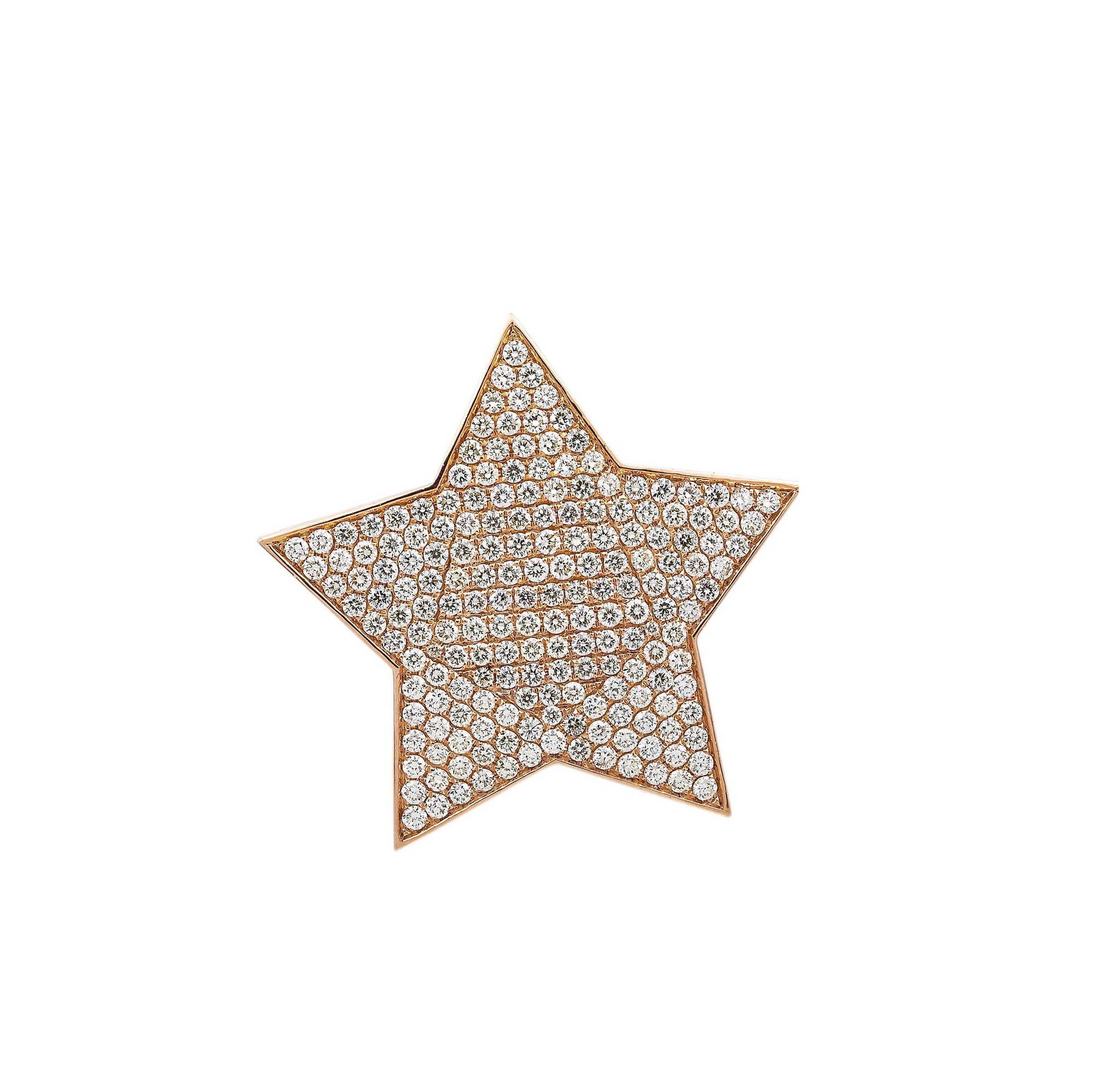 Unisex 14K Rose Gold Star Pendant with 3.83 CT Diamonds