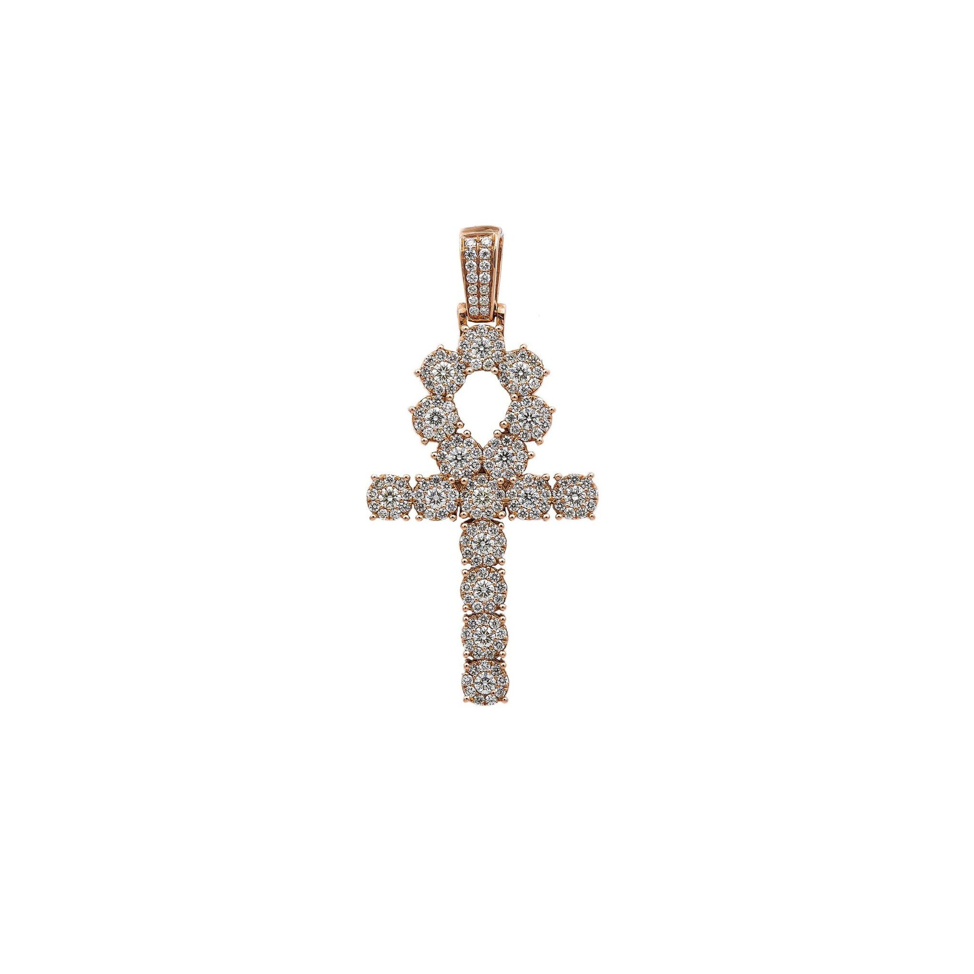 Unisex 14K Rose Gold Pendant with 2.97 CT Diamonds