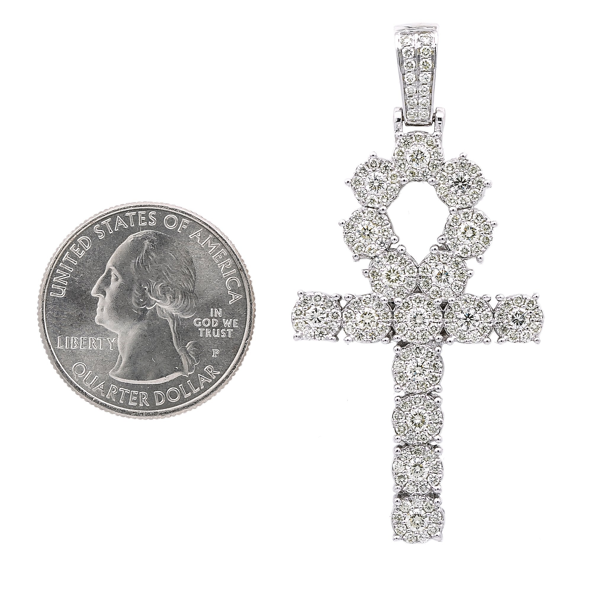Unisex 14K White Gold Pendant with 2.97 CT Diamonds