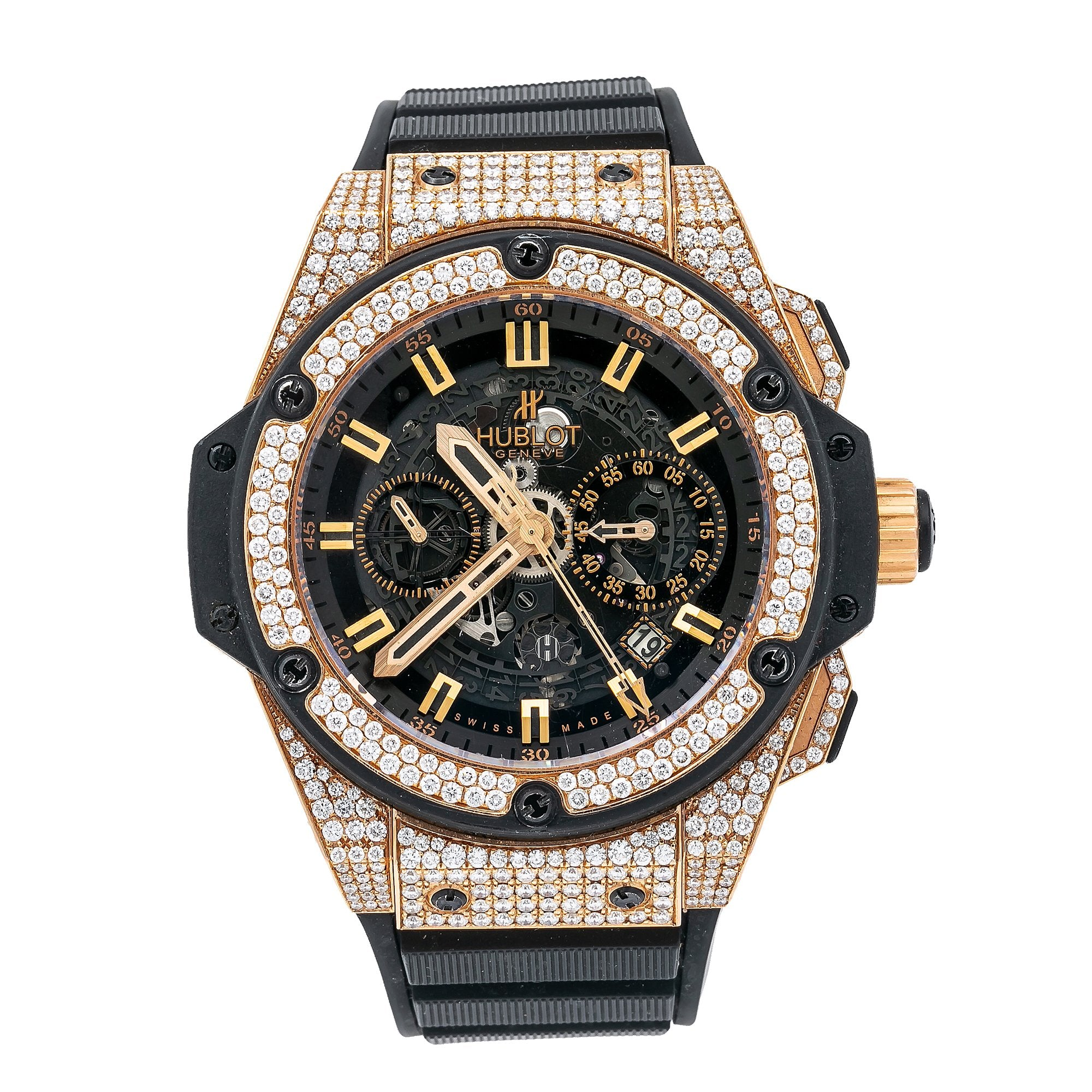 Hublot King Power 701.OX.0180 48MM Black Dial With Rubber Bracelet & 4.50 Ct Diamonds