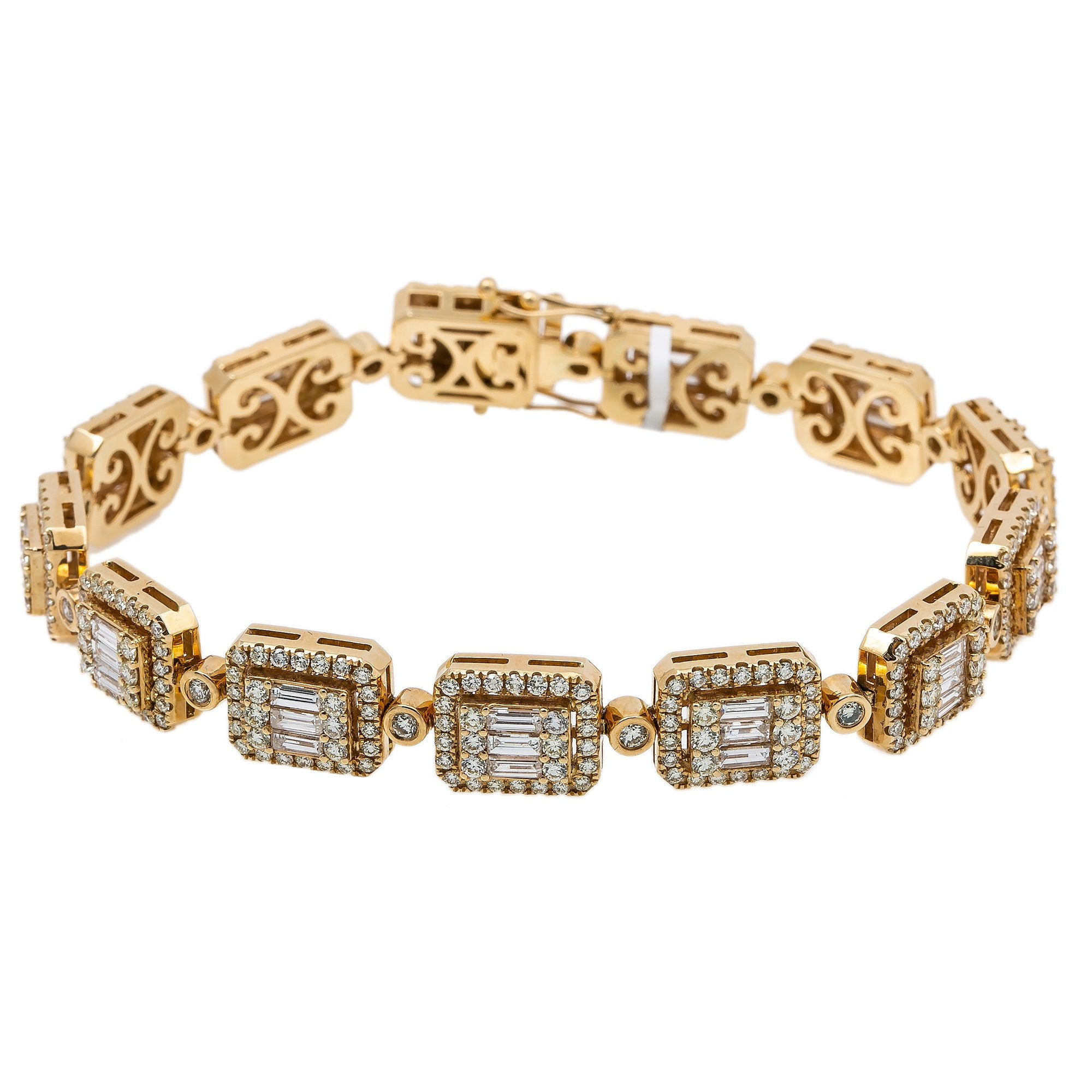 14K Yellow Gold  Men's Bracelet With 7.67 CT Of Round & Baguette Diamonds