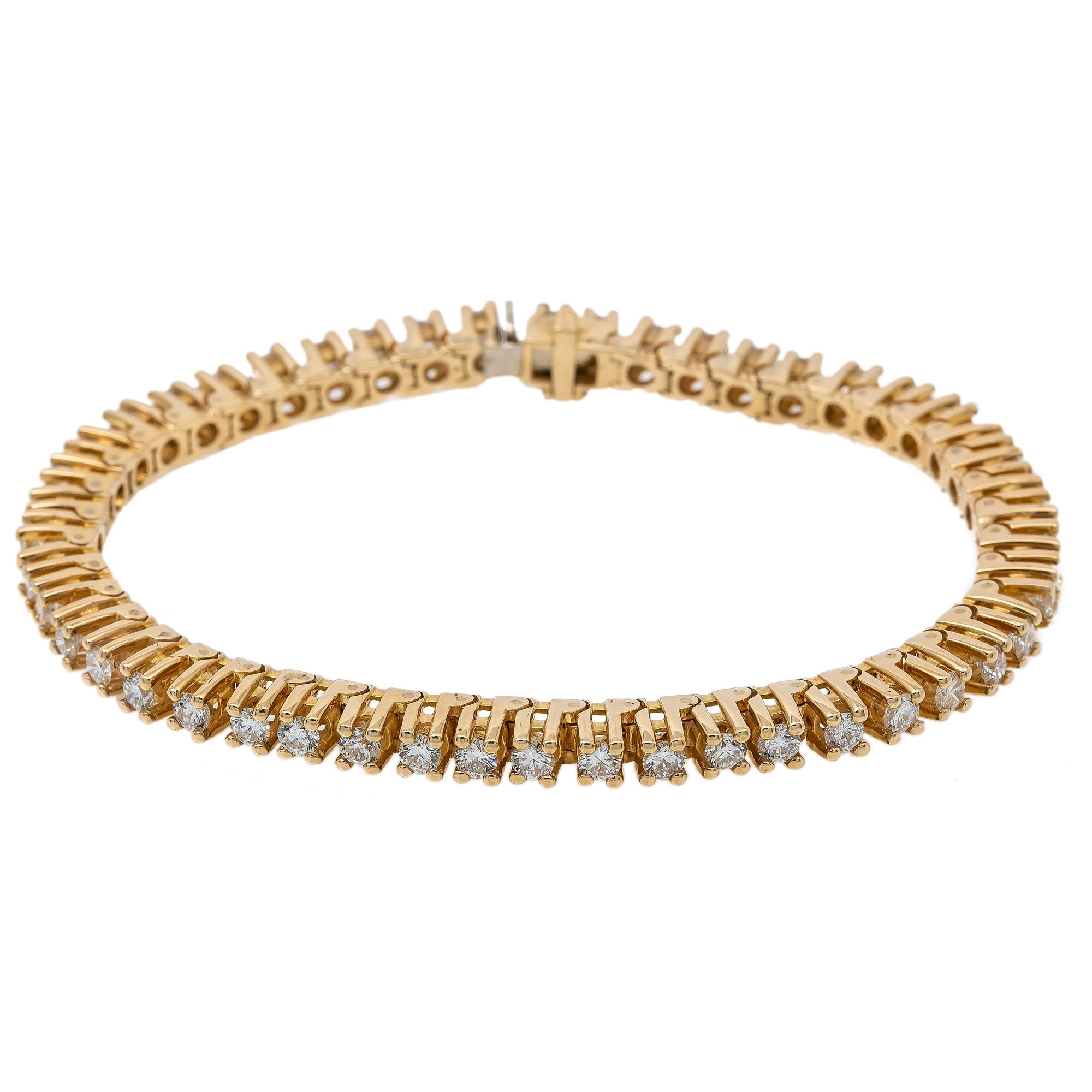 14K YELLOW GOLD WOMEN'S BRACELET WITH 6.50 CT DIAMONDS