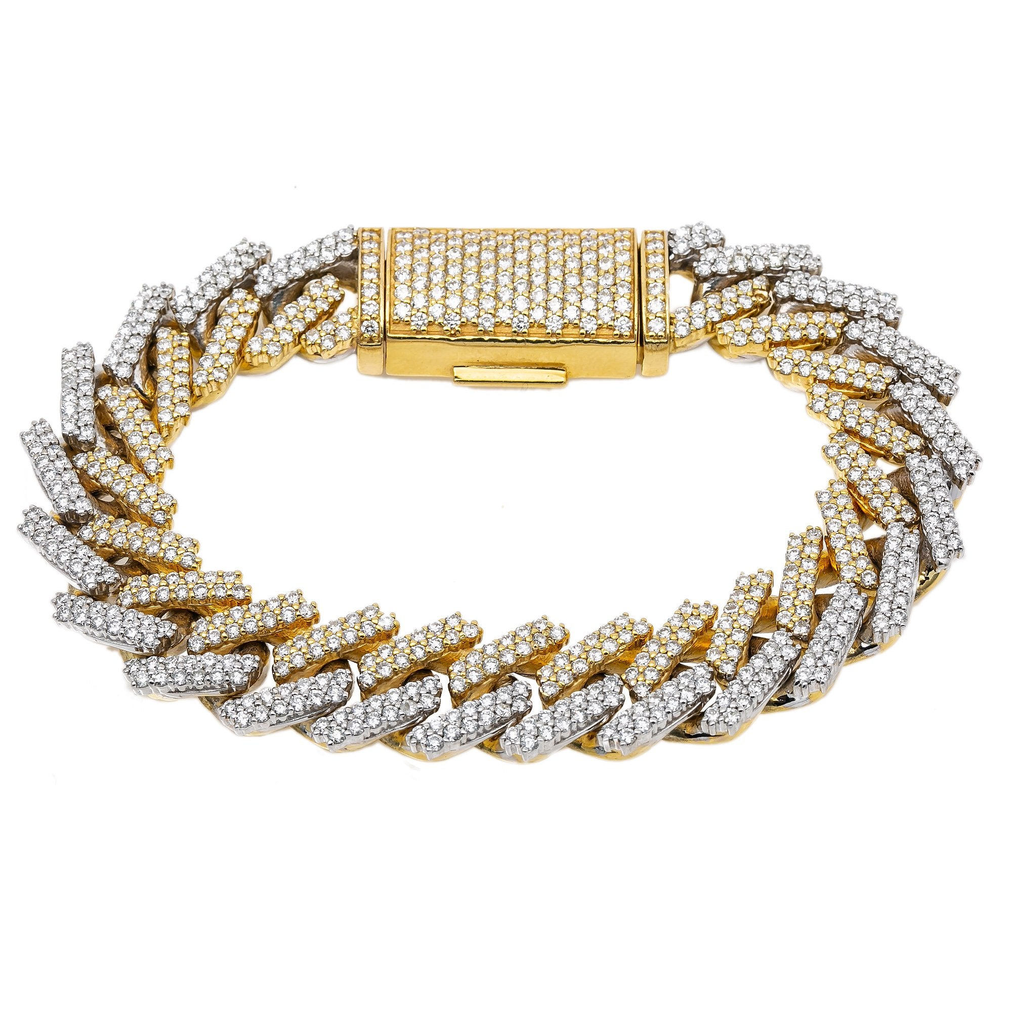 14K Two Tone Prong Set Cuban Link Bracelet With 11.50 CT Diamonds