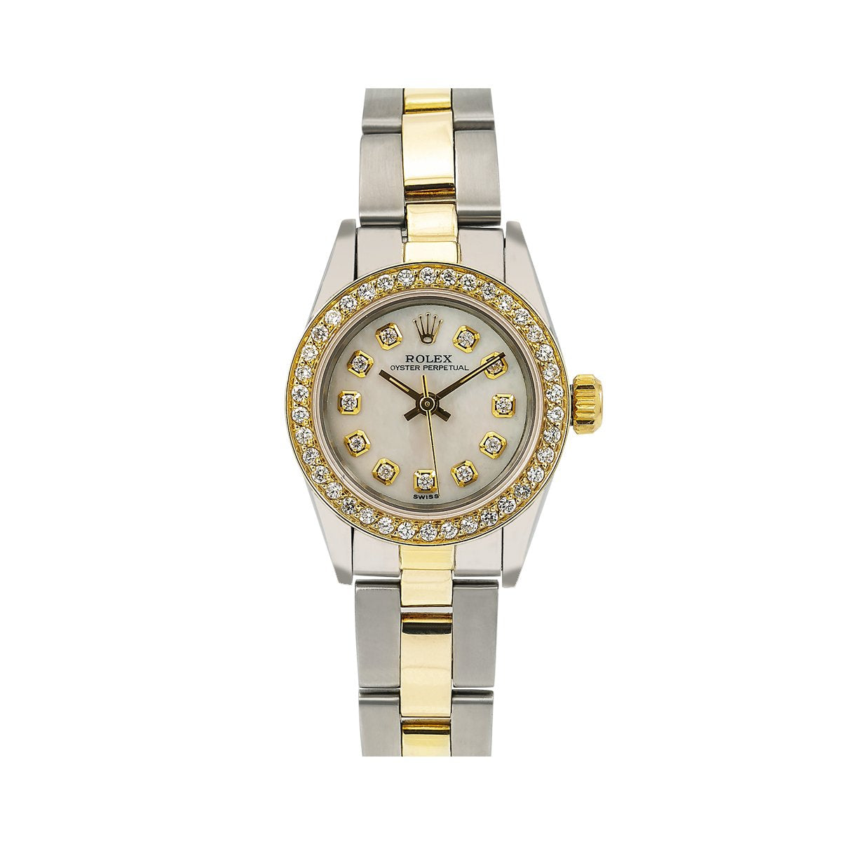 Rolex Oyster Perpetual Diamond Watch, 24mm, White Diamond Dial With 0.90 CT Diamonds