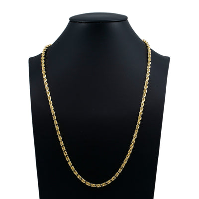14k Hollow Rope Chain In White/Yellow Gold 18-30 Inches