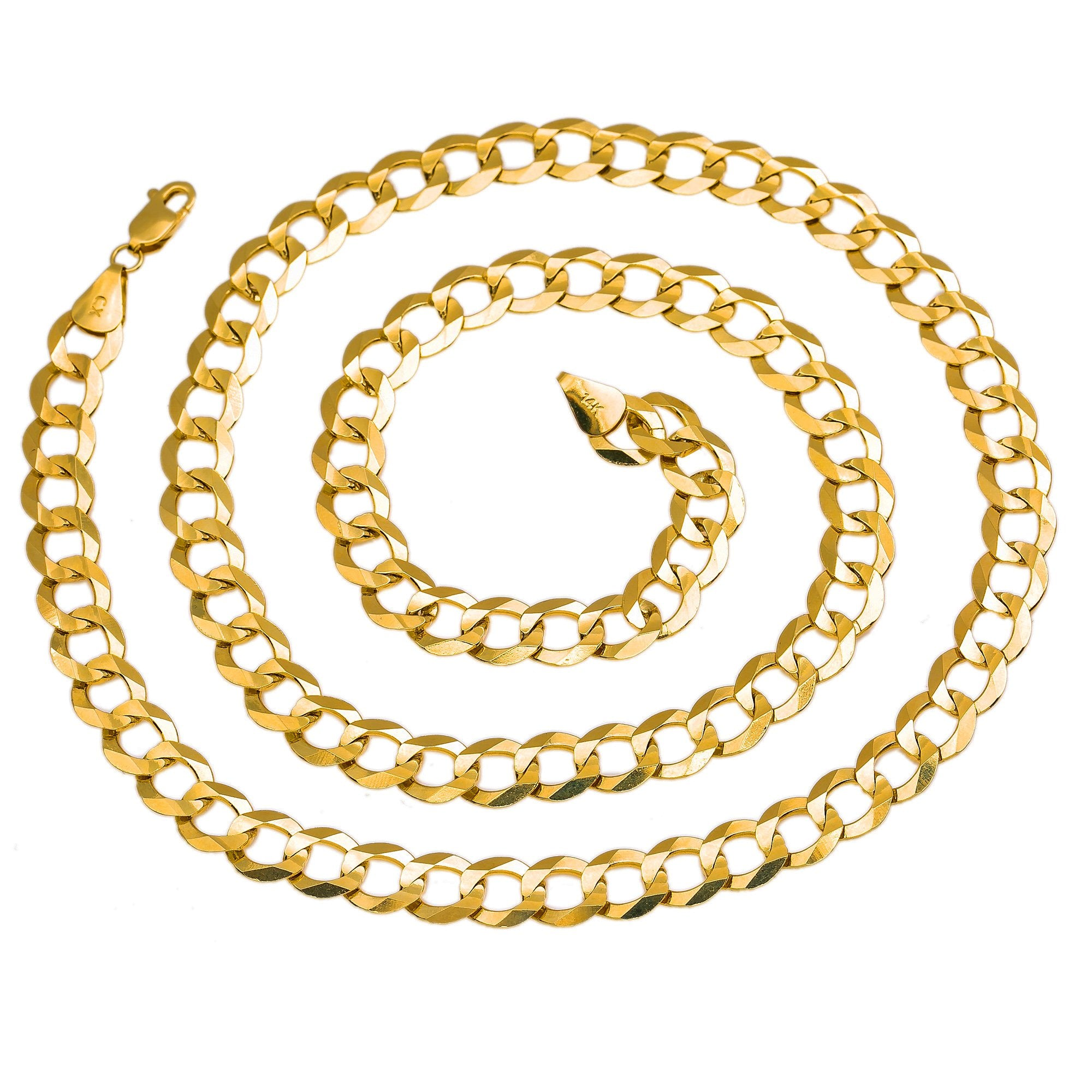 "14K Yellow Gold Semi-Solid Curb Cuban Chain | Length Size 18""-28"""