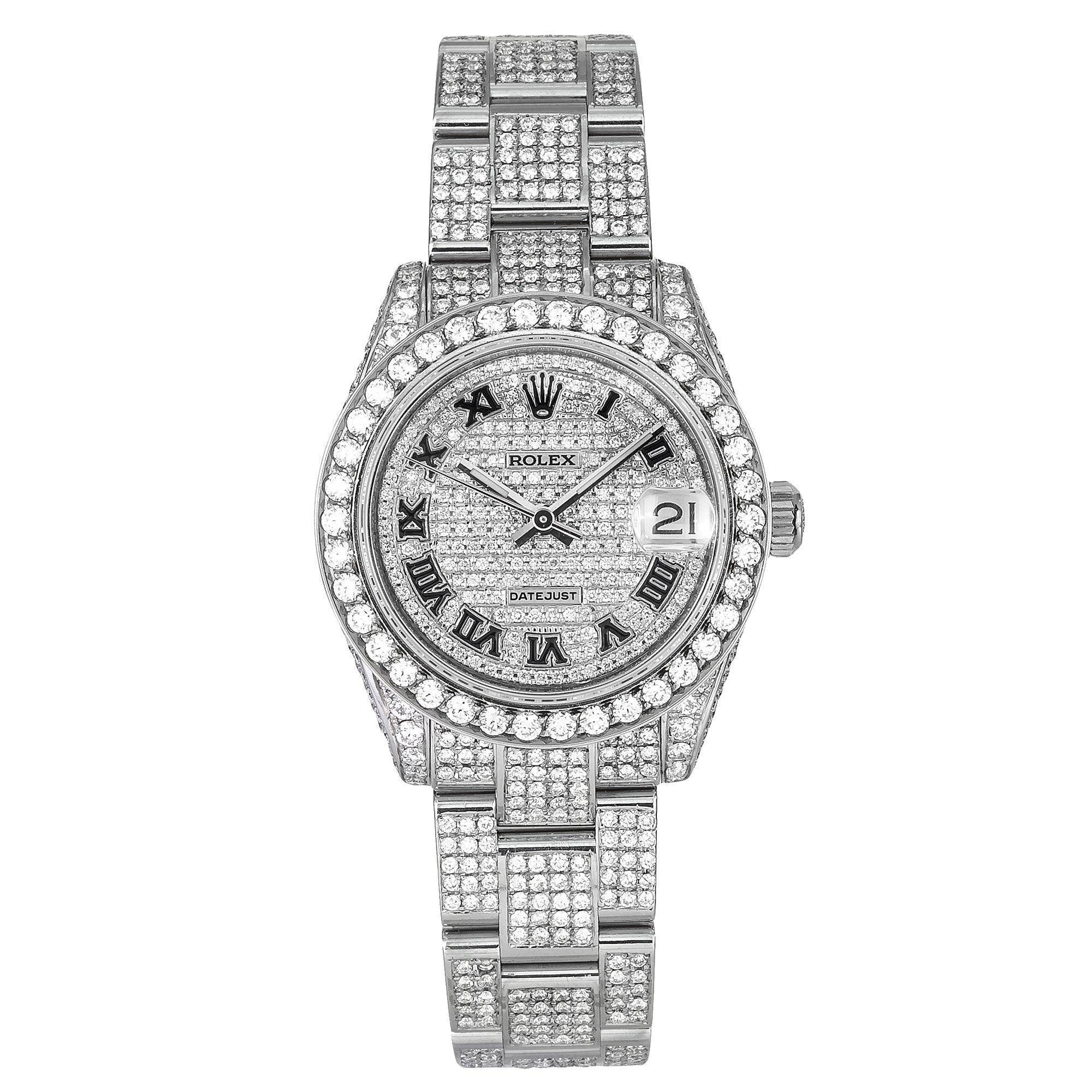 Rolex Lady-Datejust Diamond Watch, 178240 31mm, Iced Out With 8.75 CT Diamonds