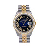 Rolex Datejust Diamond Watch, 16014 36mm, Blue Custom Diamond Dial With 1.35 CT Diamonds