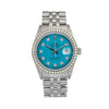 Rolex Datejust 16014 36MM Blue Custom Diamond Dial With Stainless Steel Jubilee Bracelet