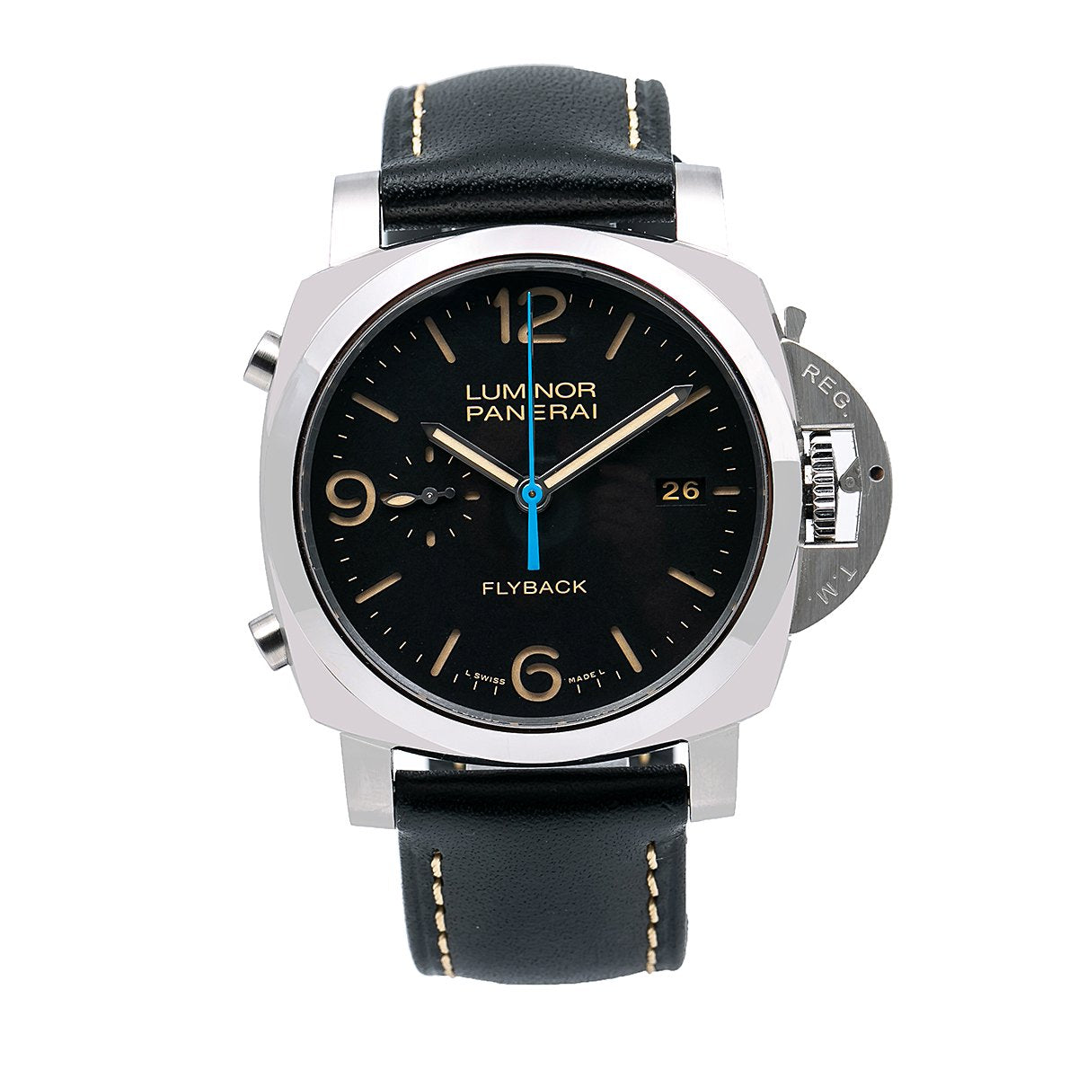 Panerai Luminor 1950 3 Days Chrono Flyback PAM00524 44MM Black Dial With Leather Bracelet