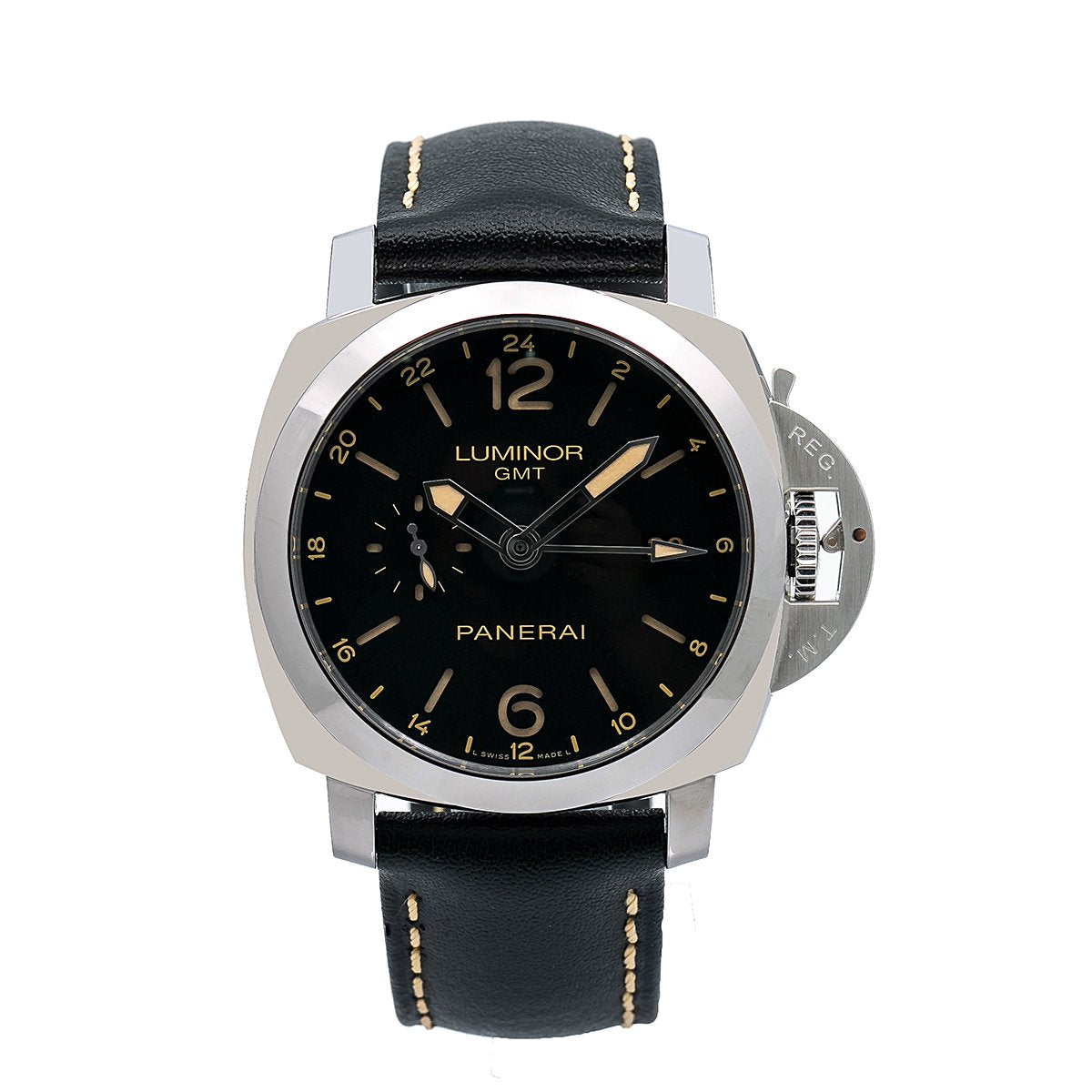 Panerai Luminor 1950 3 Days GMT Automatic PAM00531 44MM Black Dial With Calf Skin Bracelet