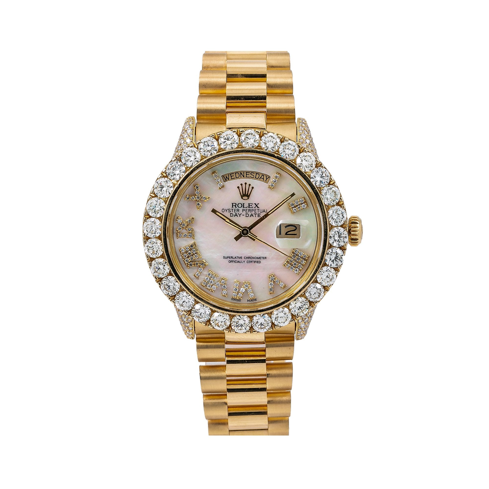 Rolex Day-Date Diamond Watch, 1803 36mm, White Mother of Pearl Diamond Dial With Yellow Gold Bracelet