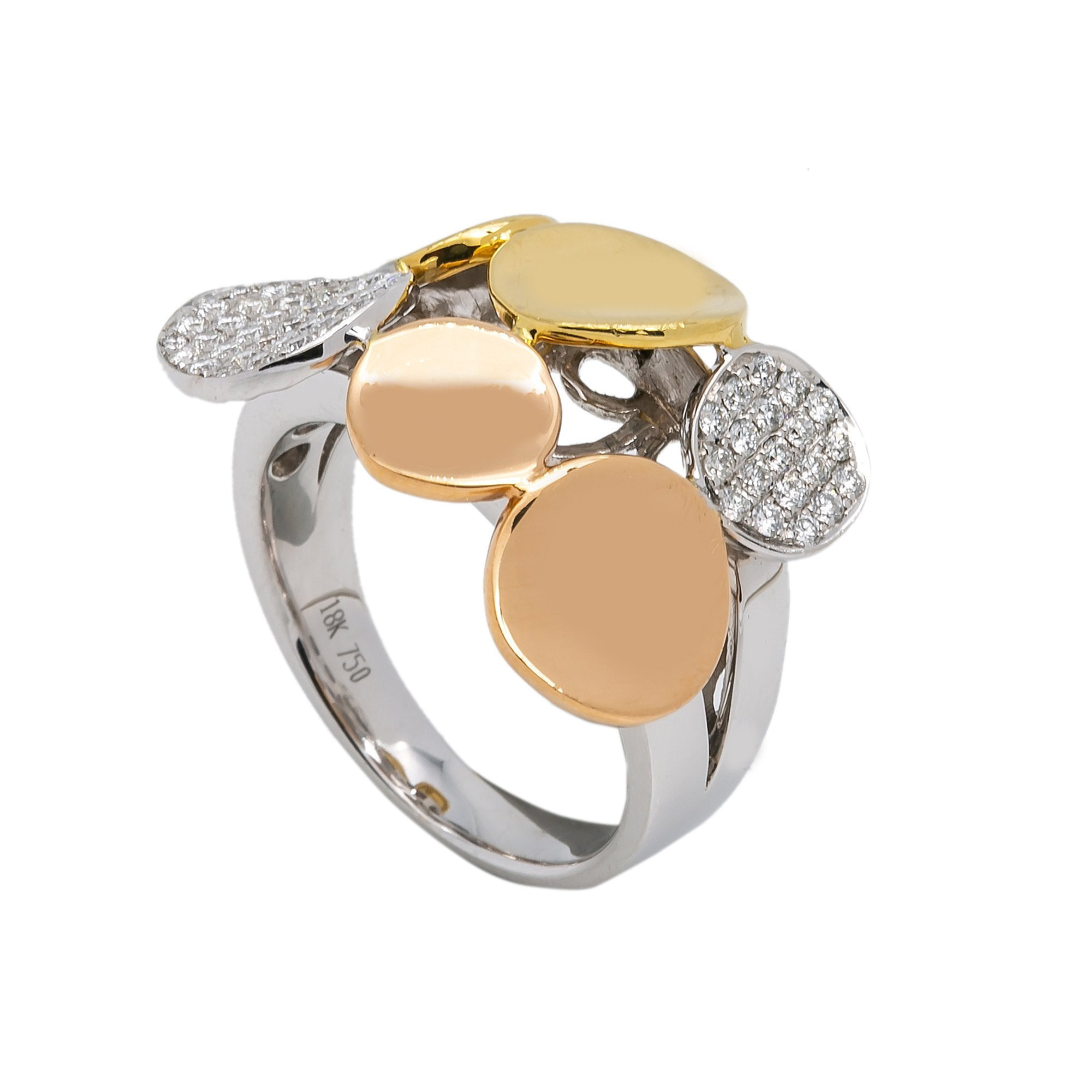 LADIES 18K YELLOW AND ROSE GOLD WITH 0.50 CT HAND RING