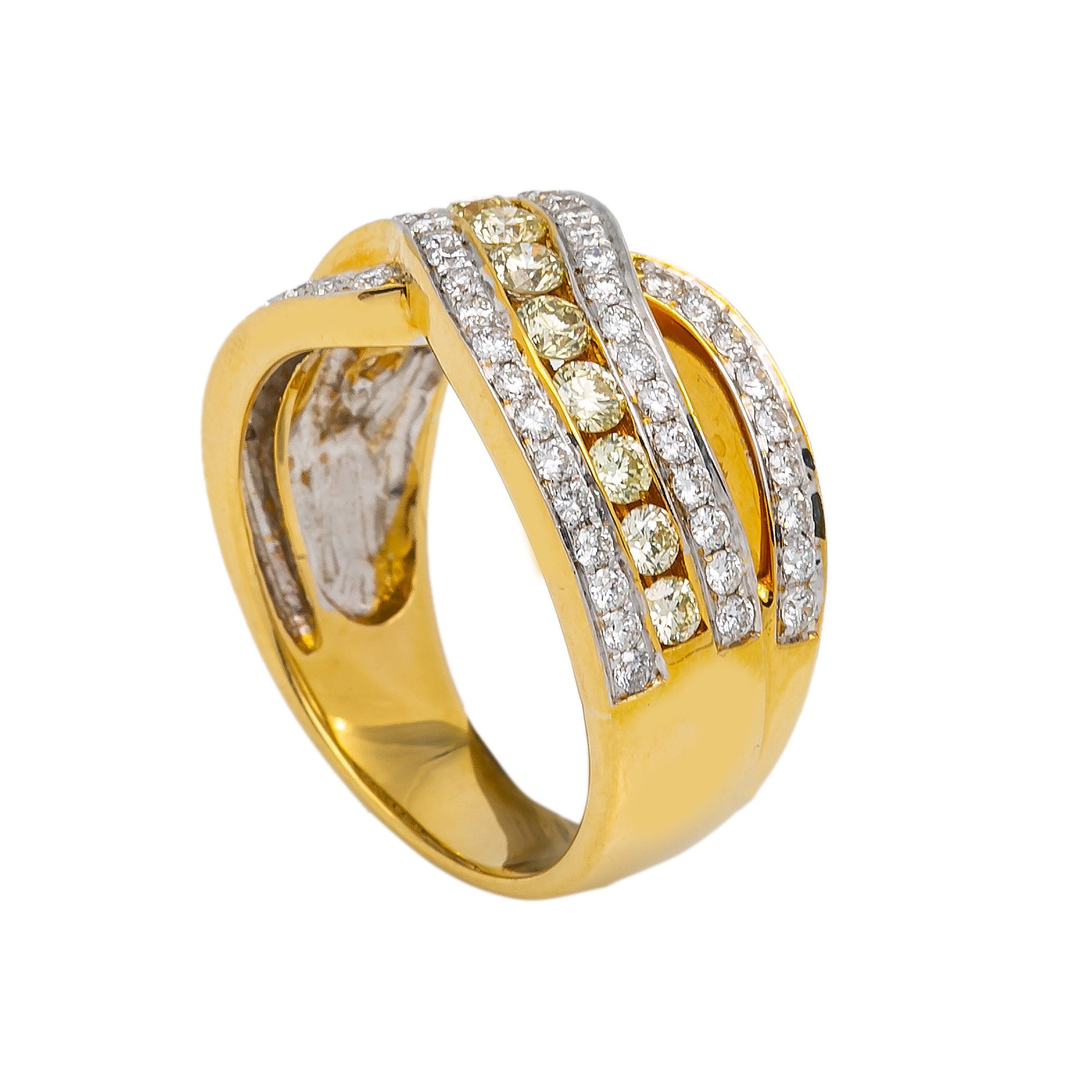 LADIES 18K YELLOW GOLD HAND RING WITH 1.44 CT DIAMONDS